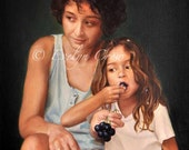Oil Painting - Custom Portraits from Your Photos - 2 People Portrait - LARGE format 24x20 inches (Half Body)