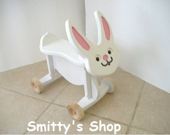 Toddler wood ride on toy Bunny rabbit.