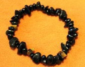 Darkness shield & negative energy cleansing natural beaded stretch bracelet with black tourmaline - CUSTOM SIZE, latex-free