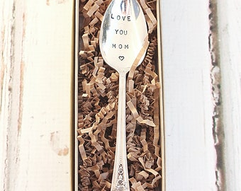 Upcycled vintage stamped spoon.  Love you Mom teaspoon.  Mothers Day Peony flower jubilee - Gifts For Mom