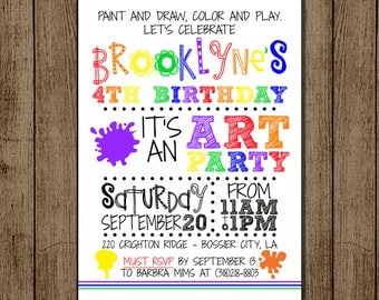Customized Art Party Birthday Invitation, Party, Girl, Boy, Birthday Invite, Paint, Color, Art, 5x7- Digital File for e-mail or print JPEG