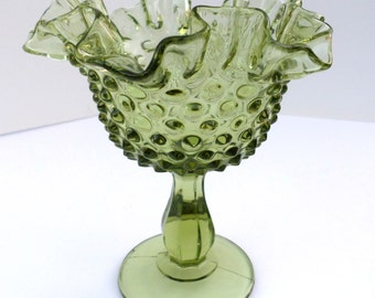 Green Ruffled Edge Hobnail Dish