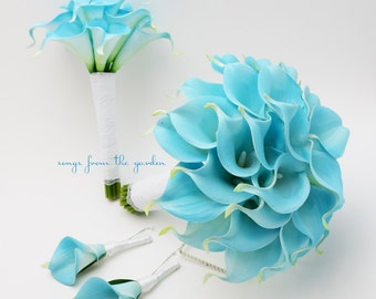 Blue Real Touch Calla Lily Bridal Bouquet Groom's Boutonniere Bridesmaid Bouquet Groomsman Boutonniere White Lace  Light Blue Wedding