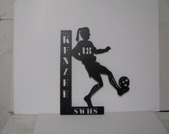 Personalize Sports Wall Art  Large  Metal Silhouette Female Soccer Player