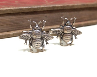 Antiqed Silver Bumble Bee Cufflinks - Honey Bee - Silver Ox Cuff Links - Soldered - Honeybee Bumblebee