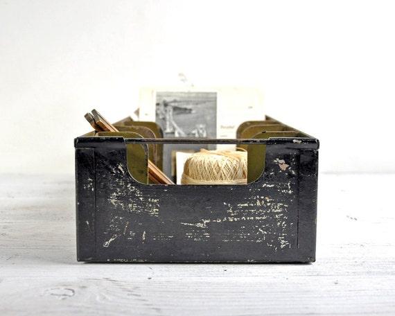 Bin de m tal industriel vintage bo te de rangement rustique - Boite rangement industriel ...