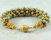 Golden Czech Glass Drops Kumihimo Bracelet