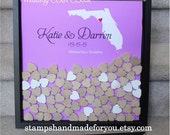 Wedding guestbook Drop Box with  YOUR state   drop box guest book Unique Heart Guestbook custom colors hearts included