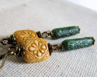 Yellow Vintage Bead Earrings, Tan and Green, Antiqued Brass, Wire Wrapped, Earthy Carved Dangle Earrings