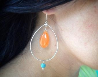 Silver Teardrop Earrings, Jade Earrings, Beaded Silver Earrings Sterling Silver Earwires, Silver Chandelier Earrings, Lightweight Earrings