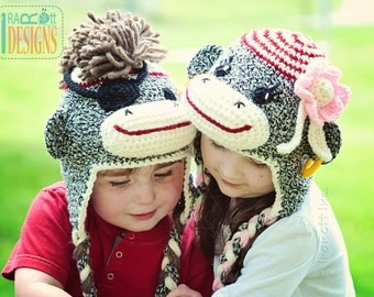 PATTERN, Pirate Jim & Molli Sock Monkey Hats, Crochet Pattern in PFD