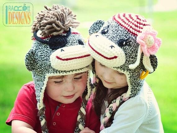 PATTERN, Pirate Jim & Molli Sock Monkey Hats, Crochet Pattern in PFD