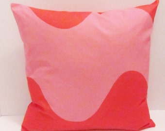 """Marimekko pink/red pillow cover in authentic Marimekko """"Lokki""""  fabric from Finland, FREE SHIPPING Canada and US"""
