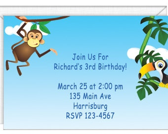 Monkey Business Invitations -- personalized -- with envelopes.  Standard Postage.  (68027)