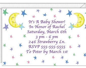 Moon and Stars Invitations -- personalized -- with envelopes.  Standard Postage.  (51005)