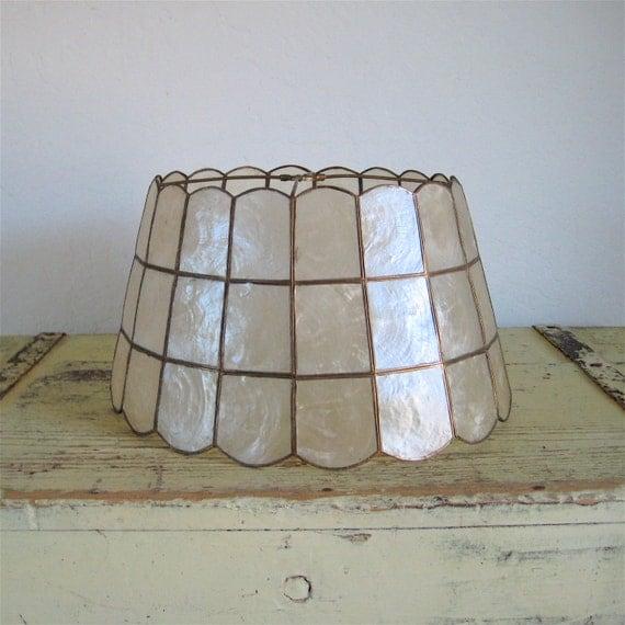 Shell Lamp Shade: Vintage Lamp Shade Capiz Shell Window Pane and Brass,Lighting