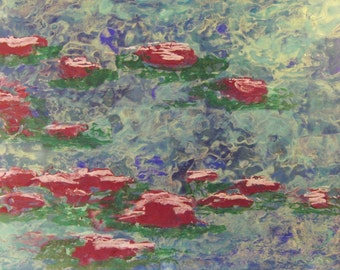 Water Lilys Abstract encaustic beeswax painting