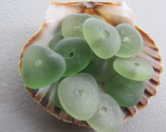 Center Drilled Beach Glass, Sea Glass, Seaglass, Beach Glass Jewelry Supply, Genuine Sea Glass Jewelry Making