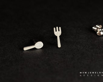 Sterling Silver Fork & Spoon Stud Earrings