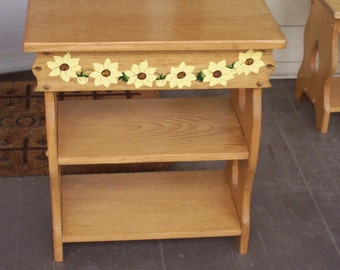End table, wooden table, acrylic painting of sunflowers, hand painted, small table with shelves, pinea, patio table, outdoor furniture