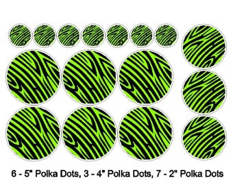 Peel and Stick Lime Green Zebra Polka Dot Stickers Removable/Repositionable Polka Dot Wall Decals Art