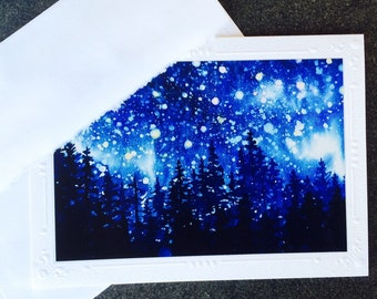 """Night Stars in mountain pine forest Watercolor Art Print of painting Embossed Greeting Card, Note Card """"Sierra Mountain Celestial series #3"""""""