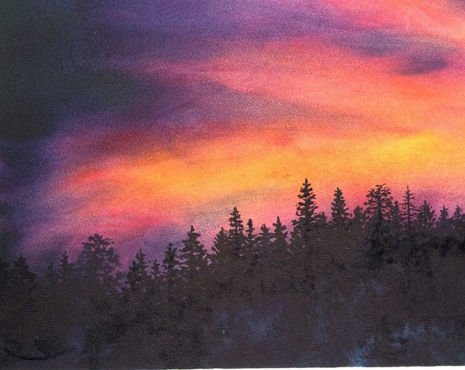 """Sierra Nevada Mountains Original Watercolor Art """"Sierra Sunset"""" Original Painting, Framed, sunset with Tahoe silhouetted forest pine trees"""