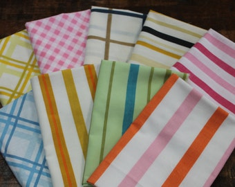 Vintage Bed Sheet Fabric reclaimed fabric fat quarter bundle reclaimed sheet fabric set stash builder Retro stripes plaids quilting fabric 9
