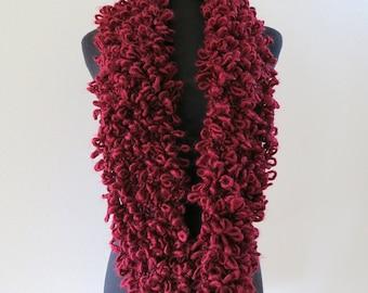 SALE - Burgundy Pinot Wine Cranberry Color Wool Acrylic Alpaca Chunky Loops Yarn Infinity Scarf Cowl Gaiter