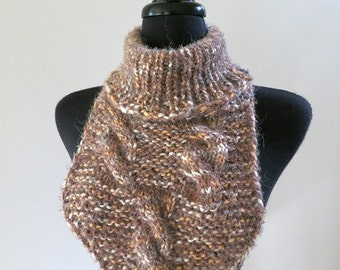 SALE - Caramel Peanut Brittle Taupe Beige Cream Color Knitted Soft Cowl Gaiter Collar Turtleneck Dickey