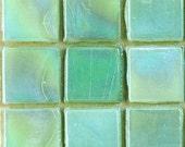 "15mm (3/5"") Celery Celadon Pistachio Green Iridescent Mosaic Tiles//Mosaic Supplies//Mosaic Pieces"