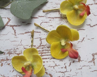 Hawaiian YELLOW Orchids  SET OF 3 bobby pins flowers-hair clips - Weddings -