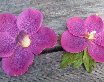 Hawaiian  Fuchsia Orchids SET OF 2 bobby pin flowers-hair clips - Weddings -