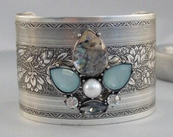Aqua Moon,Cuff,Cuff Bracelet, Bracelet,Blue Bracelet,Bracelet,Silver,Antique Bracelet,Bohemian Bracelet,Gypsy Bracelet.valleygirldesigns.