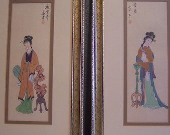 Vintage Pair Japanese Framed Prints, Geisha Girls, Pair, Enchanting & Lovely