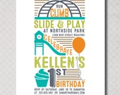 Playground Birthday Party Invitation, First Birthday, Park Birthday Party