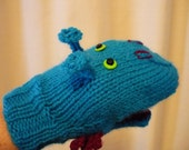 Sea Monster Knitted Hand Puppet Small Child Size