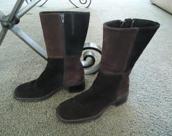 Vintage Aquatalia by Marvin K Leather Suede Black and Brown Boots