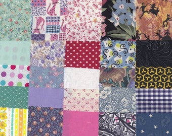 Fabric Precut 2 1/2 Inch Square Pieces, 50 Cotton Material 4 Charm Quilting, Scrapbooking, Miniature Projects, Vintage Variety # B 23