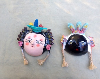 Ethnic Art Vintage Mexican Folk Art Pair of Painted Coconut Masks