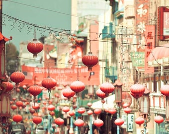 Chinatown Photo, San Francisco Art, Peach, Mint Green, Chinese Lanterns, Pastel Decor, San Francisco Print, SF California