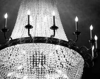 Chandelier Wall Art, Black and White Photography, Paris Print, Romantic, Chandelier Print, Bedroom Wall Art