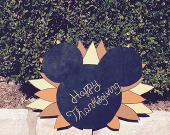 Thanksgiving Mickey Ears with feathers