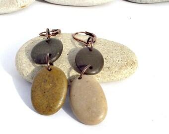 Stone bead Antiqued Copper Beach jewelry ear rings. Leverback dangles. Spanish Pebble drop ear rings  Long Spanish dangle . Beach  jewelry