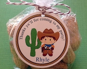12- Cowboy Gift Tag- Favor Tag- Great for Birthday or Baby Shower
