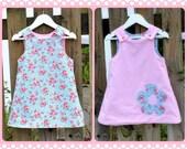 Christmas Dress Pink Corduroy Blue Reversible - Floral 6months 1T  2T 3T