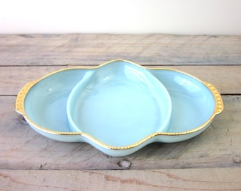 Vintage Fire King Aqua and Gold Divided Dish