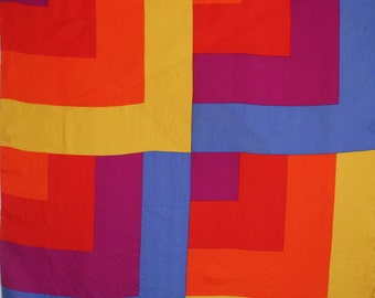 Mod color block silk scarf by Echo. Zamparelli, modern, brilliant, red, orange, yellow, violet, blue, hand rolled, Austin Powers era