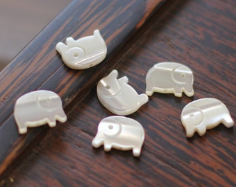 10pcs White Mother of Pearl Elephant Beads MOP Animal - V1071