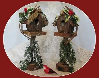 Christmas Birdhouse Decor Country Birdhouse Rustic Birdhouse Primitive Birdhouse Wood Bird House Wood Birdhouse Miniature Christmas in July